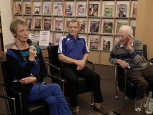 Nell Ersson, Arne Norrback och och fotbollsspelaren Egon Sundberg, 101 år.