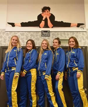 Från vänster: Emilia Lind, Elin Busk, Kajsa Norman, Elliot Fernkvist och Wilma Eriksson, samtliga EM-dansare från Sverige och tävlandes för Dansa i Falun.