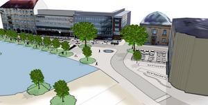 Så här ser ett av de tre omgörningsförslagen ut. Tanken är att platsen som kallas Fisktorget ska bli mer tillgängligt och en mötesplats för folk.