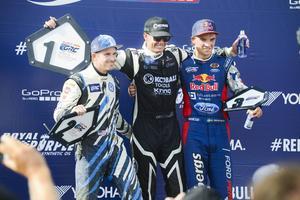Segerpallen i Detroit där Patrik Sandell vann före Scott Speed och Sebastian Eriksson.