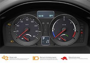 Varvräknaren har ersatts av ett instrument som visar energiuttaget ur batterierna.