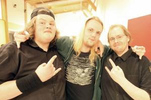 Hårdrockarna Marcus Elfström, Linus Züchner och Per Halvarsson från Sveg, tre av fyra i bandet Coersed (påtvingad).