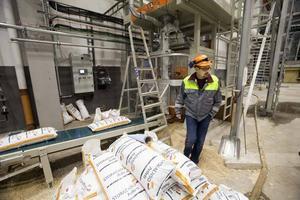Stefan Wiström är produktionschef för både sågverket och pelletsfabriken i Norrsundet. Här fylls 60-kilossäckar, lämpade för villapannor.