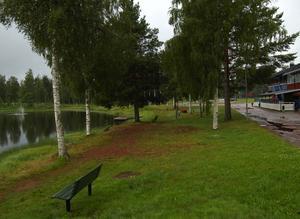 Nedkylt spår. Här, framför Moraparken, är det tänkt att frysspåret ska passera. Men innan kylslingor kan läggas ner i marken kommer arkeologiska utgrävningar att utföras längs spårets sträckning. Foto:Dan Havemose