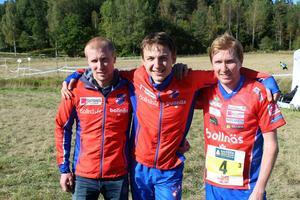 Jesper Lysell, Fredrik Ingelsson och Jerker Lysell sprang stafett för Rehns BK.