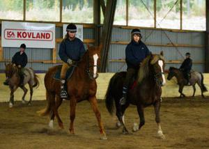 Medlemmar i Sundsvalls Lantliga Ryttarförening rider i kvadrilj under familjedagen som hölls under lördagen.