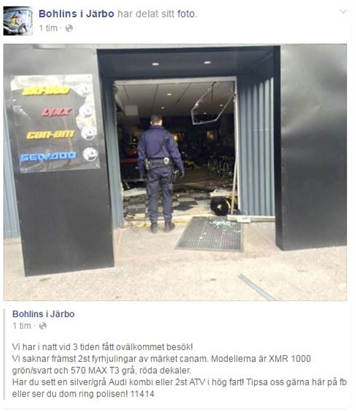 bfc3f4e61ac5 Smash and grab-kupp i Järbo – varor för en halv miljon stulna