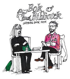 Lotta Lotass och Staffan Söderblom i en diskussion om litteraturens innersta väsen.Teckningar: Gunnar Svensson