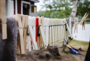 Klädnypor att hänga tvätt i.