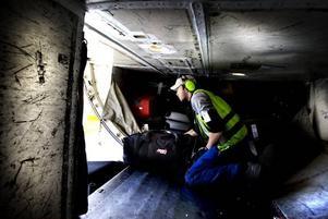 DUBBELVIKT. Egentligen är Tommy  med sina 1,91 för lång för  att krypa upp i det trånga lastutrymmet på plane.