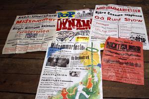 Gamla affischer från Uttersbergs IK:s evenemang. Vid jubileumsfirandet ska besökarna kunna se en utställning av bland annat affischerna.