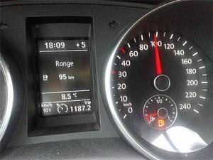 Reservlampan tändes efter 118,7 mil och räckvidden var då 95 km. Det var ännu en överoptimistisk uppgift från färddatorn.