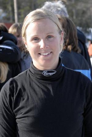Glad bronstjej. Malin Hultdin, från Borlänge men tävlandes för Umeå, slutade trea.