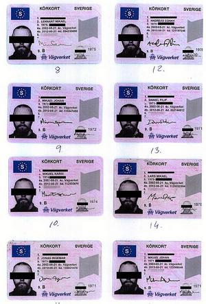 Några av de falska och välgjorda, men inte perfekta, körkorten. Bilden är manipulerad för att skydda de personer vars personuppgifter kapats av den dömde.