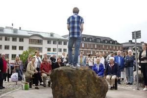 Speakers corner i Falun invigdes på lördagen av Johan Lindgren, som kom på idén med ett talarhörn.