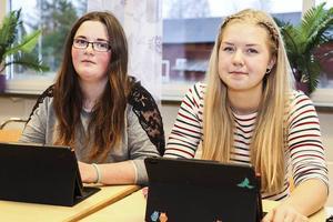 Wilma Nauman och Johanna Grip tycker att distansundervisning fungerat bra.