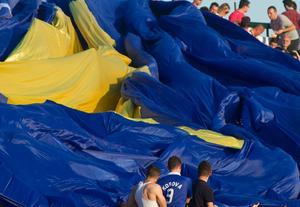Kosovanska fans firar historiska segern.
