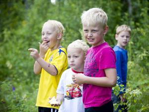Linus Norgren, Elliot Norgren och David Sjödin följde rallybilarna.
