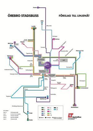 nytt bussnät. Här är förslaget på det nya bussnätet som ska innebära nya avgångar var tionde minut. Slottet blir bytespunkten.Illustration: Örebro kommun