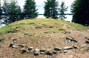 Fångstmarksgravfält från järnåldern på Vindförbergs udde i Oresjön.