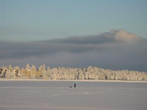 Bilden tagen13/1 -10 mot Frösösidan av bron.Dimman kommer från det öppna vattnet under Frösöbron.