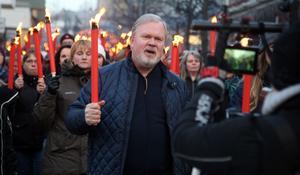 Senast det demonstrerades för Sollefteå sjukhus var i slutet av mars 2017 och då spelade även Per Herryey in en hyllningslåt tillägnad ockupanterna och Sollefteå sjukhus. Foto: Jonny dahlgren/arkiv
