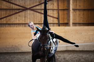 Akrobatik på hästryggen. Voltige ställer stora krav på både häst och utförare.