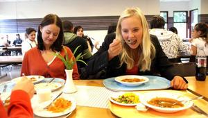 lunchade på sin gamla skola. Ida Gabrielsson, förbundsordförande i Ung Vänster, är van att äta i skolmatsalar. Hon är ofta ute och träffar ungdomar och deltar i debatter. I går besökte hon Sandvikens gymnasieskola för en pratstund med elever. Med sig hade hon vännen Hanna Cederin.