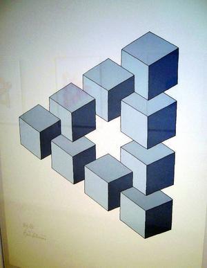 """Oscar Reutersvärds """"omöjliga"""" figurer visas på Galleri S."""