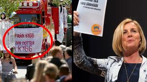 Jämställdhetsministern Maria Arnholm tycker att banderollen som byggprogrammet på Tullängsskolan använde är
