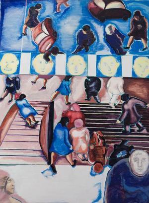 Dramatiken i Birgits Ståhl-Nybergs bilder utspelar sig ofta i vardagliga miljöer som tunnelbanestationer och varuhus.