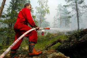 Örjan Krantz, räddningstjänsten Matfors, var en av de 20-tal personer som jobbade med att släcka branden vid Fågelberget.