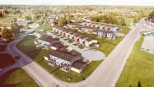 3D-skiss över det nya bostadsområde som ska byggas på gräsytan Trädgårdsgatan-Fasanvägen och Videvägen i Hallstahammar. Illustration: Obos