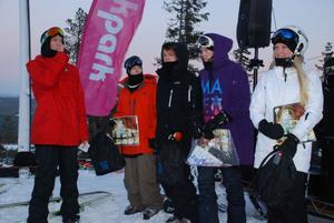 Felix Lundin, längst till vänster, agerade speaker och prisutdelare. Här presenteras segrarna i skidklassen, från vänster: Per Fernvik (1:a), Jon Häggberg (2:a) och Kristian Lianger (3:a). Damklassen vanns av Julia Danek.