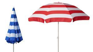 Randigt parasoll som skyddar mot solen. Det här kommer från Ikea och kostar 79 kronor.