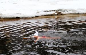Några raska simtag över ån.