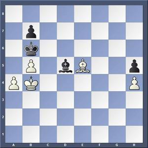 Lösning: 1.Lb8 Lg8 2.a5 matt.