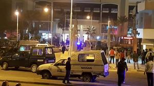 Entrén till hotell Bella Vista i Hurghada, där ett attentat ägde rum på fredagskvällen.