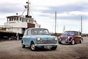 Austin 850 1959 och Rover Mini 40 1999 – samma bil men ändå skiljer nästan alla detaljer.