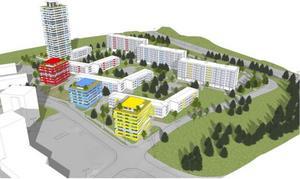 Ett höghus och tre punkthus kan byggas på Pettersberg, enligt ett förslag till detaljplan.