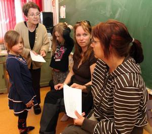 Inger Jämting, Marina Edfeldt och Malin Blad arbetar i Kaxås skola som hotas av nedläggning. Här ger de Anna Norrman, 6, och Ellinor Tahlin, 8, uppgifter.
