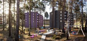 Två sexvåningshus och en större lekplats ska byggas på den nuvarande parkeringsplatsen i kvarteret Älgen, Skallberget.