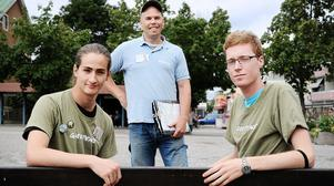 Ruben Laguna Ek, Sereno Dolci och Erik Andersson vill få Bollnäsborna att agera för miljön.