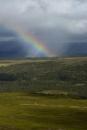 Regnbåge vid Nipfjällets sydsluttning.