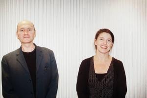 Peter Lucas Erixon och Kristina Sandberg, två författare som mötte varandra och sina läsare vid torsdagens litteraturkväll på Länsbiblioteket.