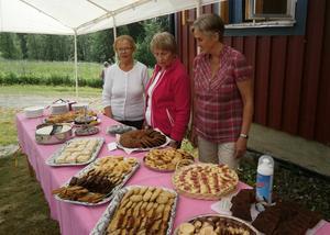 Marianne, Margareta och Marite är förväntansfulla framför krusbordet.