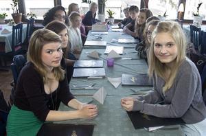 Sara Hansson och Linnea Berggren tillsammans med den övriga Respektgruppen på restaurangbesök i Bollnäs.