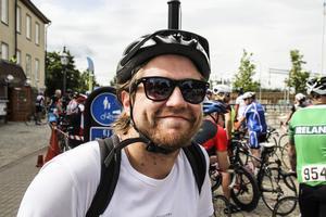 Natan Forslin hade rest hem till Bollnäs över helgen för att cykla.