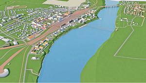Krylbo ska bli den gröna, ekologisk stadsdelen där alla sorters människor vill bo. I visionen finns många förslag, bland annat en gång- och cykelbro över älven.