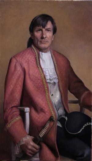 STÅTLIGT. Peter Mihics i kråsskjorta och med tjusig 1700-talshatt i knät.